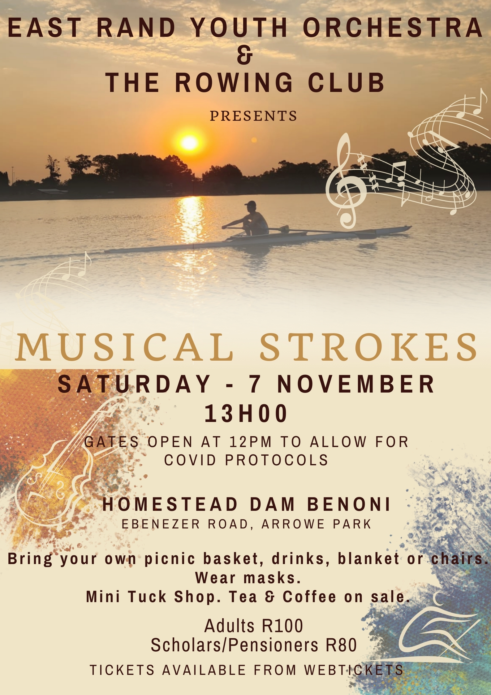 East Rand Youth Orchestra Musical Strokes Concert Poster at Benoni Rowing Club